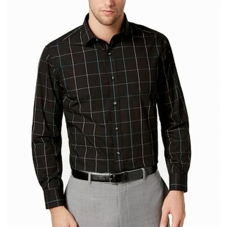 Mens Windowpane Slim Fit Stretch Dress Shirt 15 (Windowpane Dress Shirt)