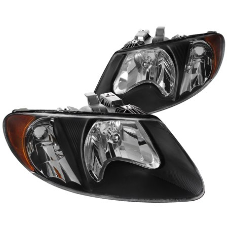 Spec-D Tuning 2001-2007 Dodge Caravan Chrysler Town & Counry Black Euro Headlights + Amber Reflector 2001 2002 2003 2004 2005 2006 2007 (Left + Right)