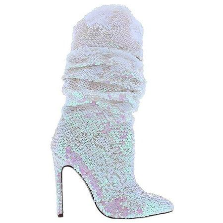 1c9c39728b2 Xaya-19 Knee High Stiletto Heel Pointed Toe Scrunch Slouchy Sequin Boots  Hologram Pink