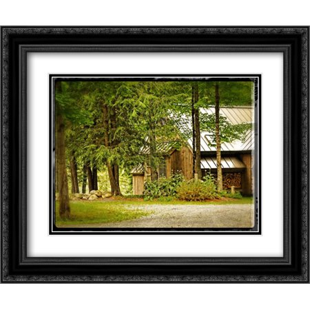 Vintage Country Woods Home 2x Matted 24x20 Black Ornate Framed Art Print by Foschino, Suzanne