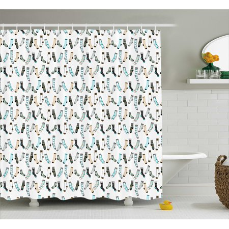 Cartoon Shower Curtain, Messy Teenager Kids Room Rain of Socks ...