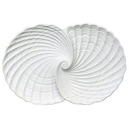 Shaped Double Nautilus Shell Bowl White Ceramic 11.75 Inch Andrea by, Measures 12 3/4 x 8 1/2 x 1 3/4 inches By