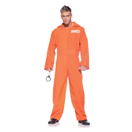 Orange Prison Jumpsuit Adult Halloween Costume - One Size - Clown Jumpsuit Costume