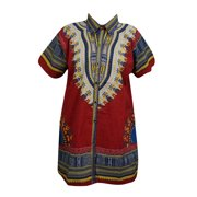 Mogul Men Women Dashiki African Top Blouse Loose Traditional Red Tunic Dress L