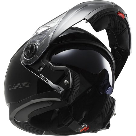 LS2 Helmets Strobe Solid Modular Motorcycle Helmet with sunshield (Gloss Black, X-Large)