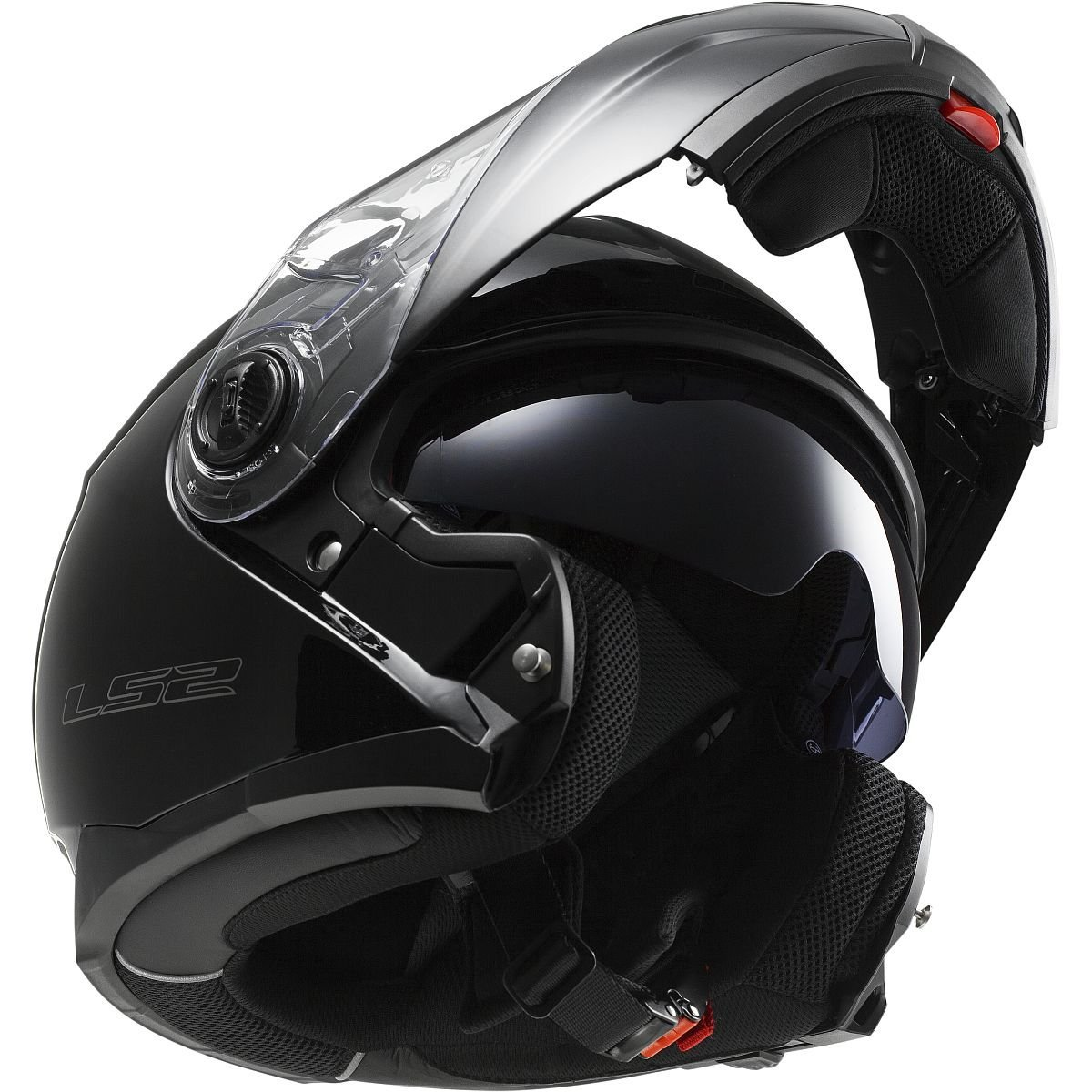 LS2 Helmets Strobe Solid Modular Motorcycle Helmet with sunshield (Gloss Black, XX-Large)