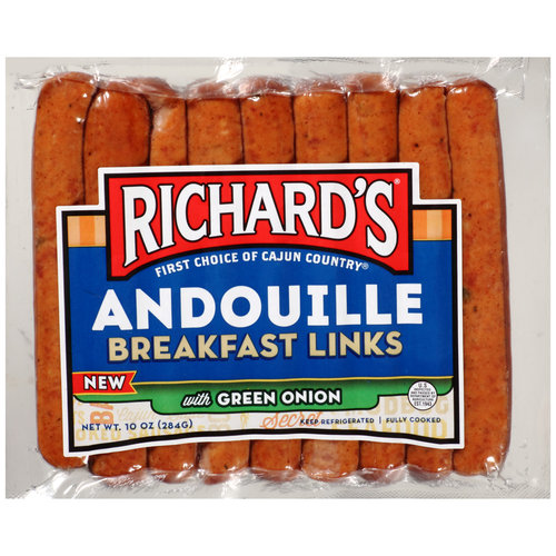 Richard's Andouille Breakfast Links with Green Onion, 10 oz