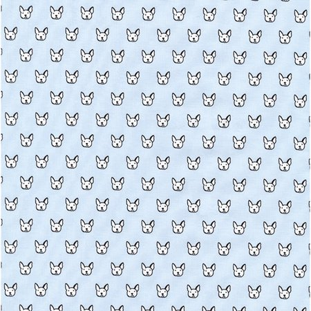 Robert Kaufman Whiskers & Tails Sky French Bulldog Faces