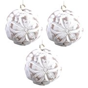 Carved Wooden Whitewashed Sand Dollar Ornaments Set of 3