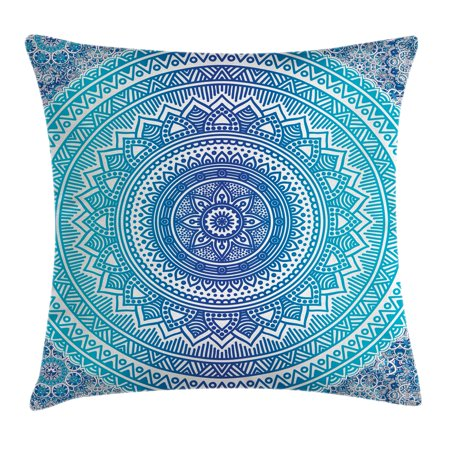- Indian Throw Pillow Cushion Cover, Spiritual Ritual Symbol of Universe Cultural Center Point Balance Meditation Theme, Decorative Square Accent Pillow Case, 24 X 24 Inches, Light Blue, by Ambesonne