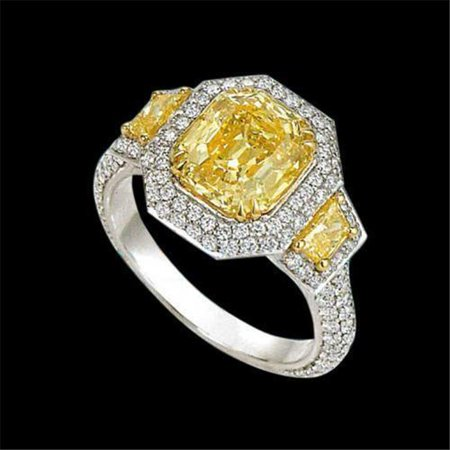 Harry Chad Enterprises 7237 4.81 CT Radiant Cut Yellow Center Diamond Ring Three Stone Engagement