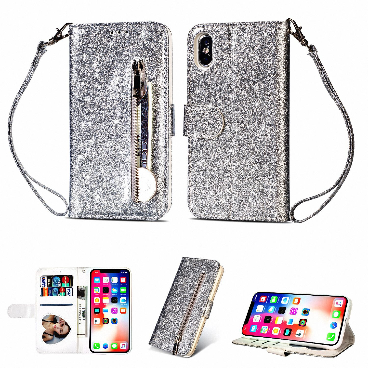 "Allytech iPhone X Case, Premium PU Leather Glitter Protective Zipper Cards Slots Wallet Case Cover with Hand Strap Shockproof Stand Cover for Apple iPhone X 5.8"" 2017 Released, Silver"