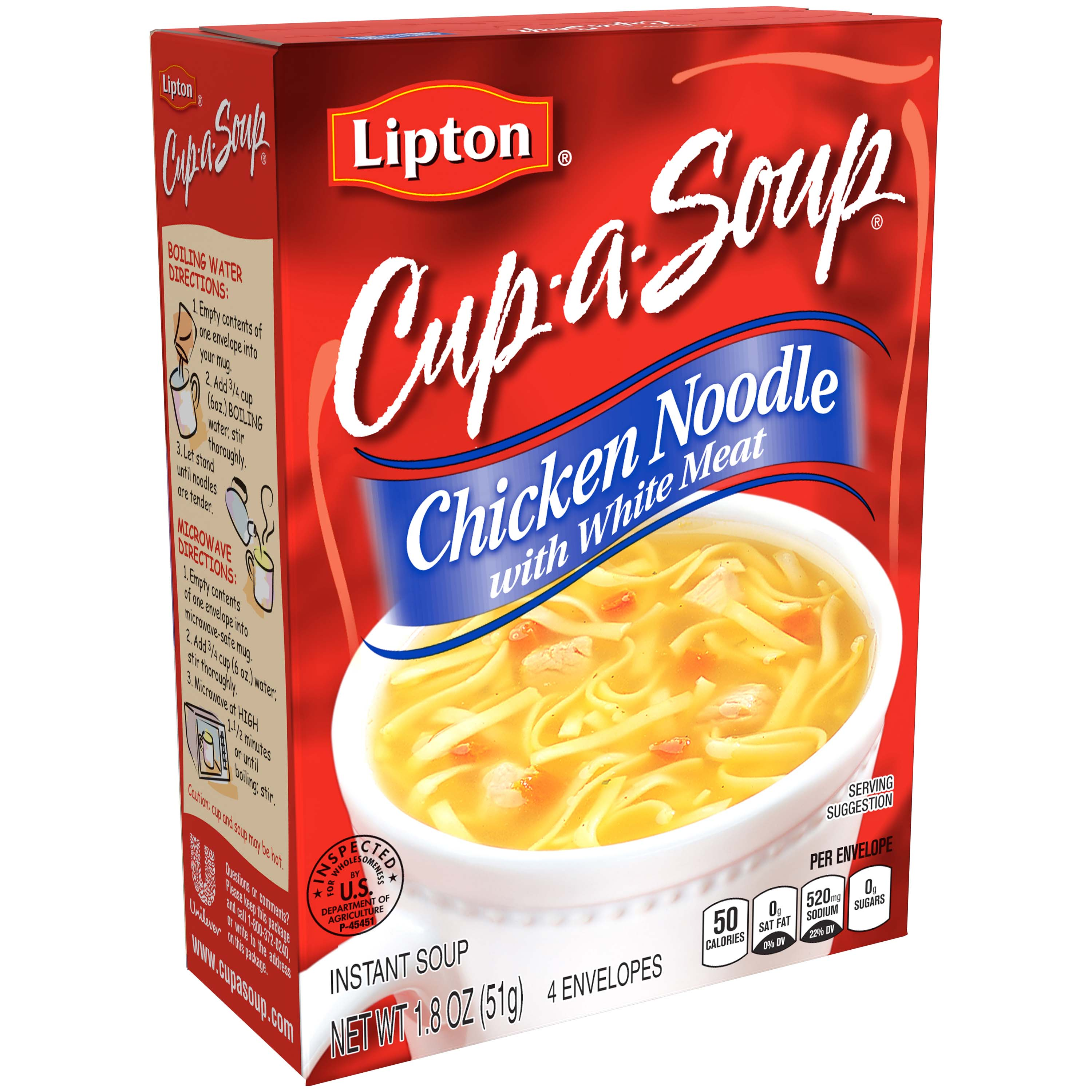 Lipton Chicken Noodle with White Meat Instant Soup Mix, 1.8 oz ...
