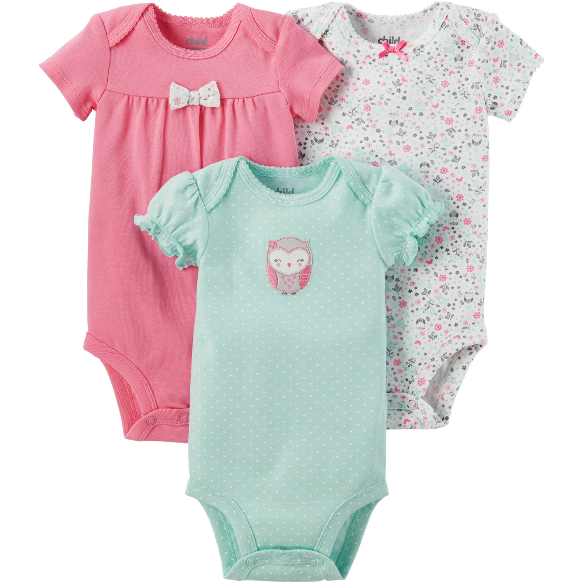 Child of Mine by Carter's Newborn Baby Girl 3 Pack Bodysuit