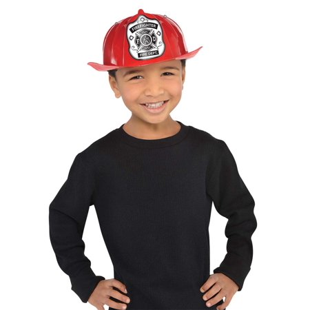 Fireman Boys Child Fire Rescue Team Plastic Costume Red Hat