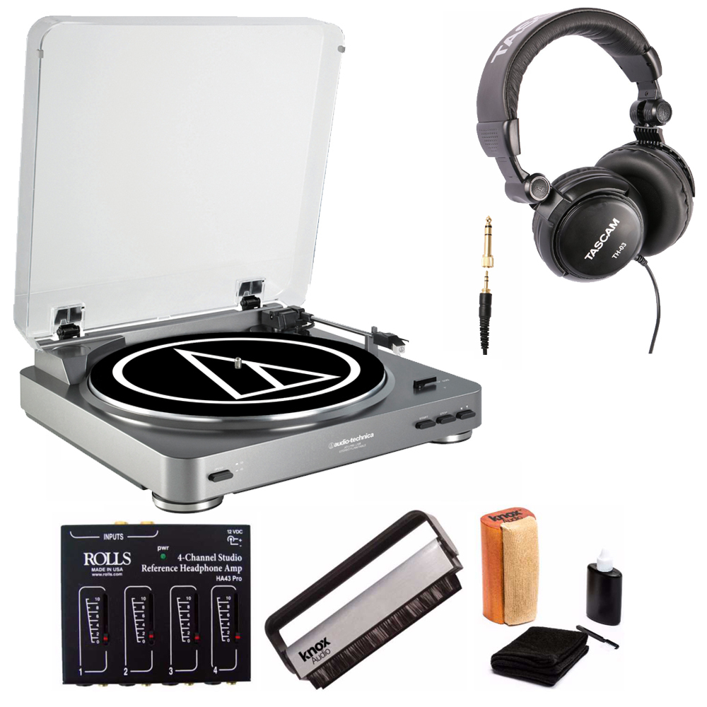 Audio Technica AT-LP60-USB Turntable with Rolls Headphone Amplifier Bundle