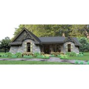 TheHouseDesigners-4514 Construction-Ready Cottage Lake House Plan with Slab Foundation (5 Printed Sets)