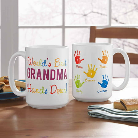 Personalized Hands Down 15oz Coffee Mug - Personalized Drinkware