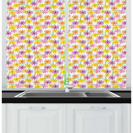Garden Art Curtains 2 Panels Set, Dotted Background with Colorful Gerbera Daisies Gardening Themed Illustration, Window Drapes for Living Room Bedroom, 55W X 39L Inches, Multicolor, by Ambesonne