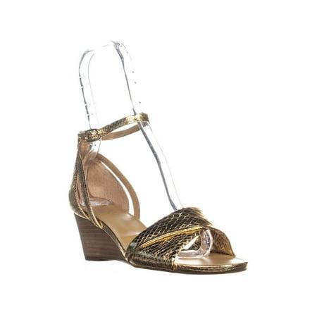 e87a5971b2 Franco Sarto - Womens Franco Sarto Deirdra Buckle Wedge Sandals, Gold -  Walmart.com