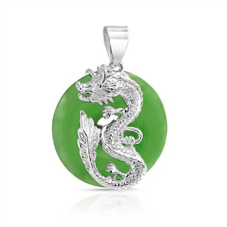 Bling Jewelry 925 Sterling Silver Disc Green Simulated Jade Dragon Pendant