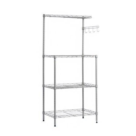 3-Tier Microwave Oven Stand Removable Kitchen Baker'S Rack Microwave Shelving Unit With Household Storage Cart Stainless Steel Workstation Shelf