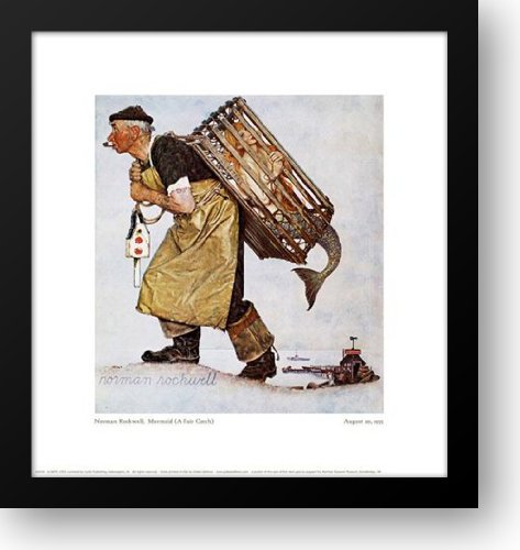 Mermaid (a Fair Catch) 17x18 Framed Art Print by Rockwell, Norman