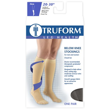 Truform Compression Stockings, Knee High Length, Closed Toe, Black, L