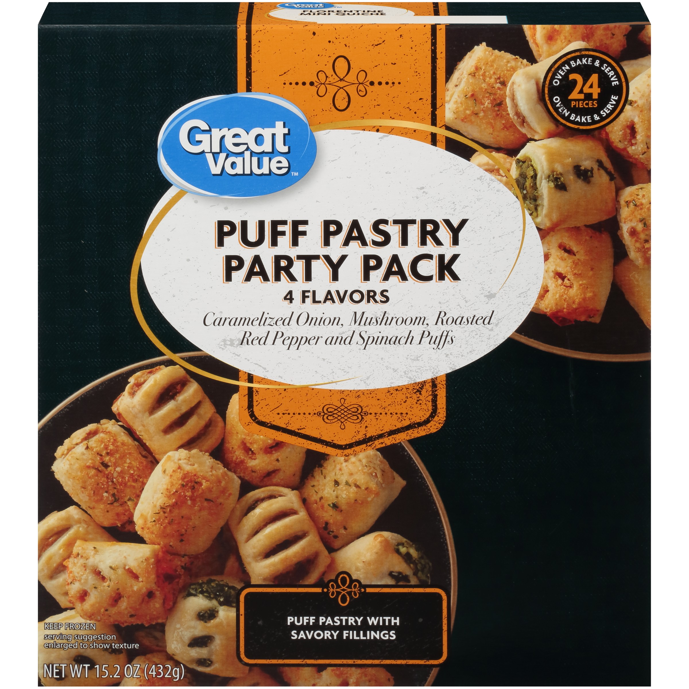 Great Value Pastry Party Pack 4 Flavors Puff 15 2 Oz 24 Count