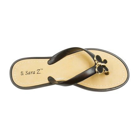Gold Enameled Girl (Sara Z Girls Thong Sandals with Gold and Enamel Butterfly Size)