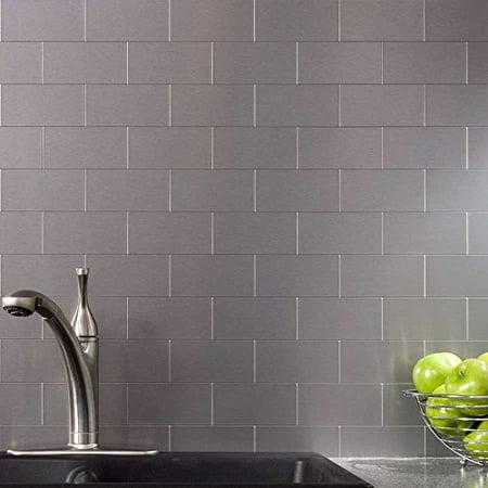 Peel and Stick Kitchen Backsplash, Adhesive Metal Tiles for Wall, 3\