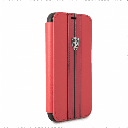 FERRARI RED PU LEATHER HARD WALLET CASE W/ CONTRASTING BLACK STITCHING FINISHES (Samsung Galaxy S8) ()