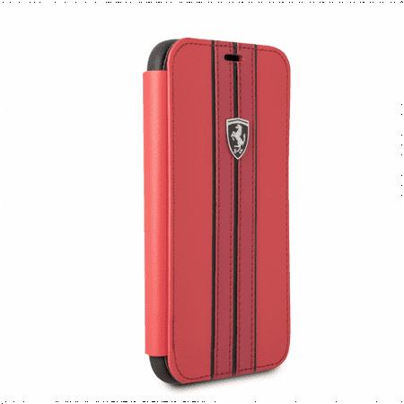 FERRARI RED PU LEATHER HARD WALLET CASE W/ CONTRASTING BLACK STITCHING FINISHES (Samsung Galaxy (Ferrari Case)