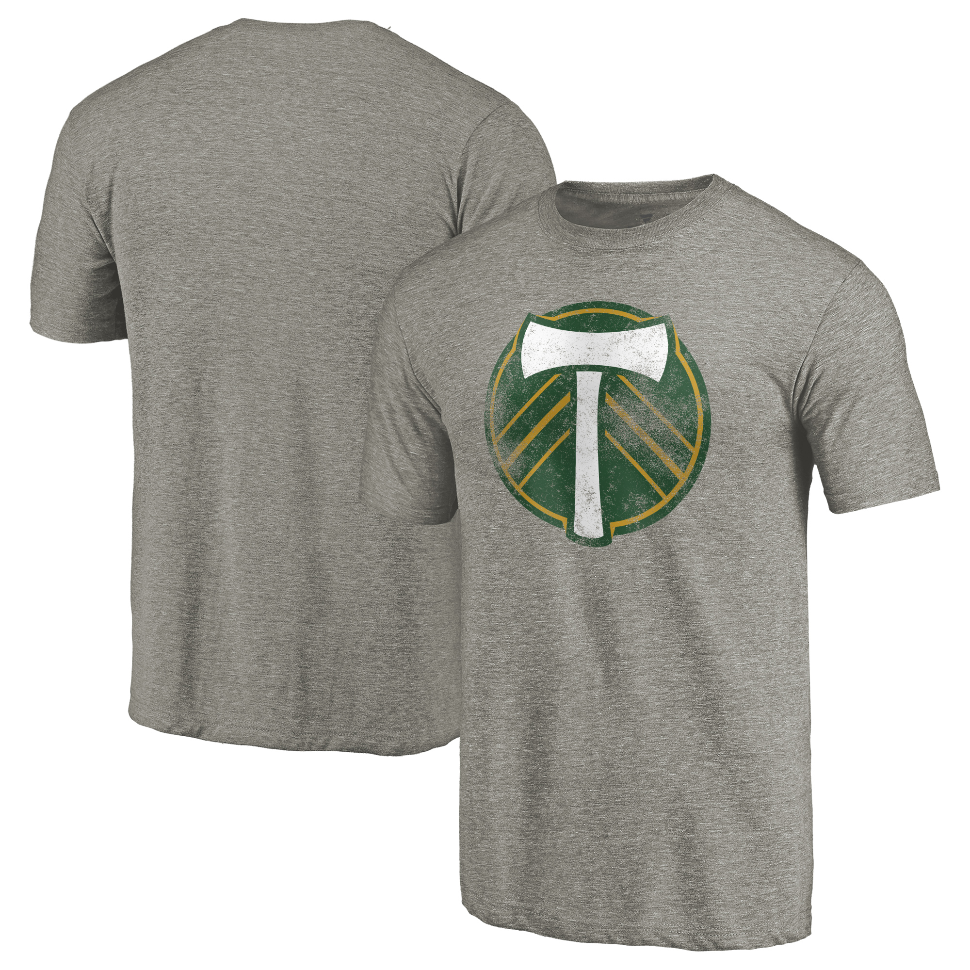 Portland Timbers Fanatics Branded Distressed Primary Logo Tri-Blend T-Shirt - Gray