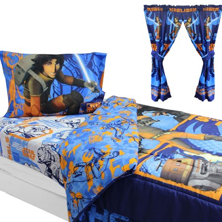 Store51 Llc 17245205 Star Wars Bedding And Curtains Rebels Fight Comforter Sheets And Window Panels With Tie Backs