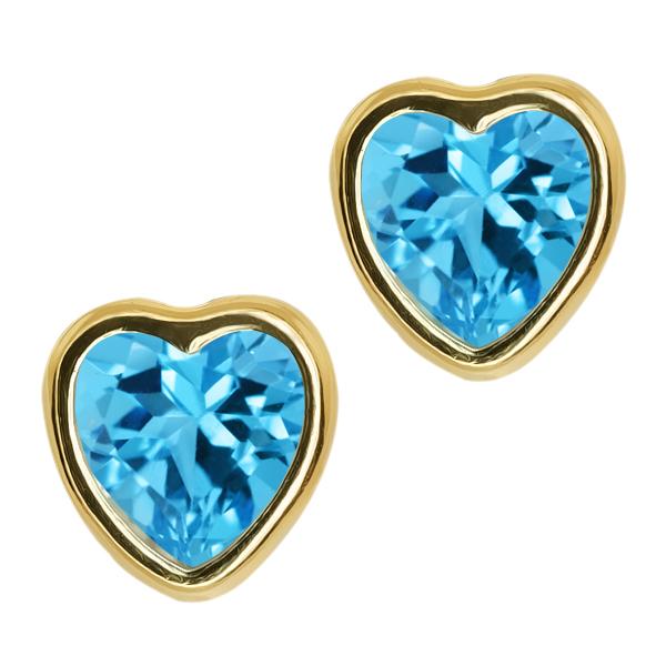 2.00 Ct Heart Shape Swiss Blue Topaz 10k Yellow Gold bezel Stud Earrings 6mm
