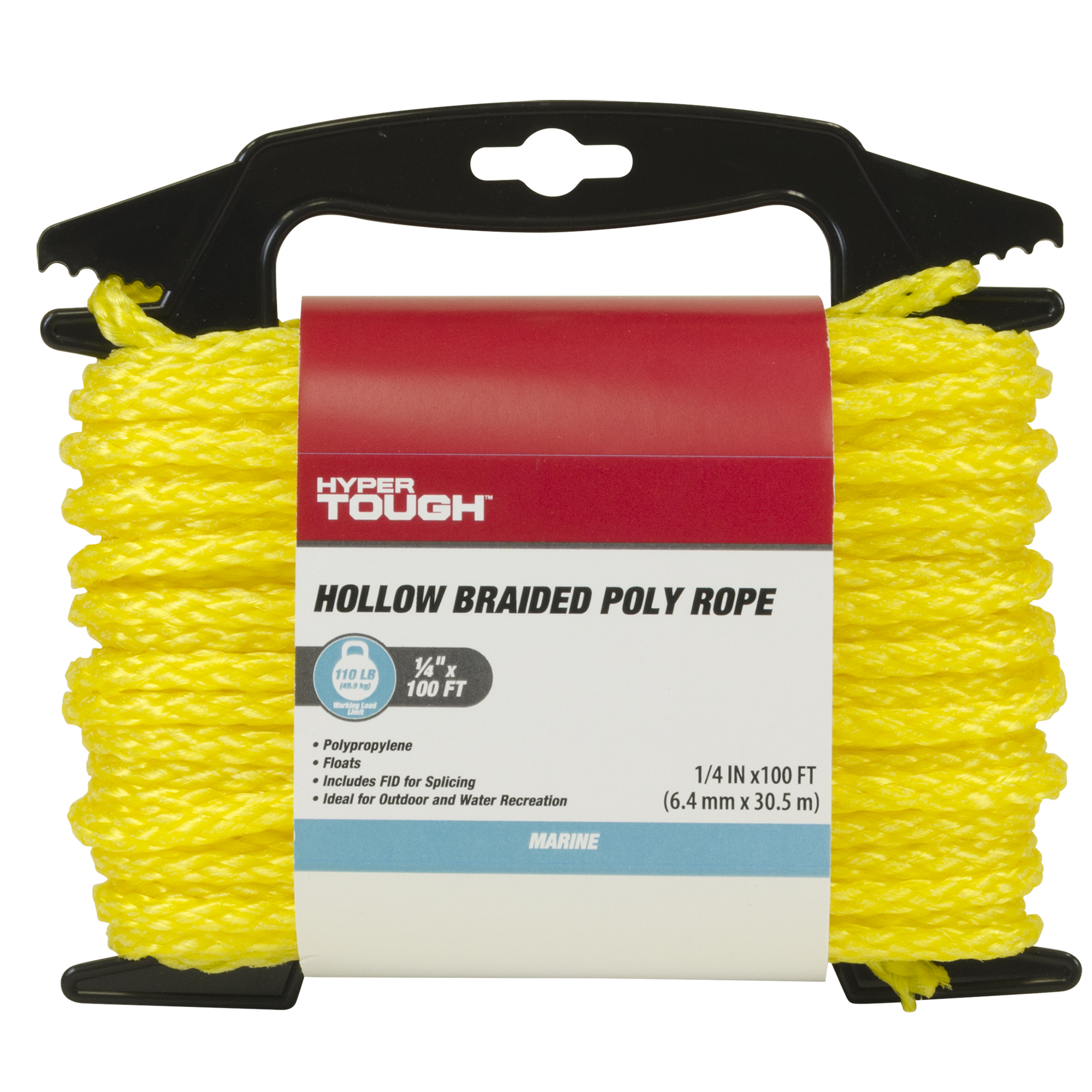 """of hollow braid Polypropylene rope Made in USA Yellow 1//4/"""" 200 ft"""