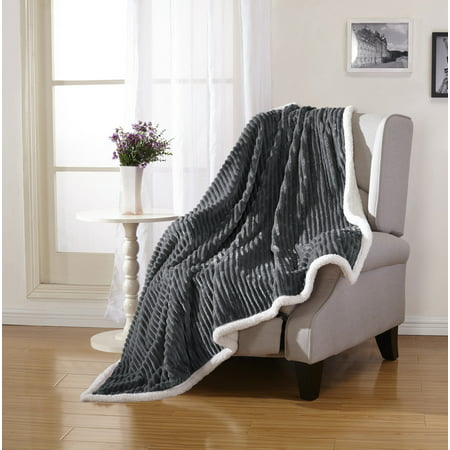 (Soft Plush & Cozy Reversible Corduroy / Sherpa Lined 50x60 Inch Throw Blanket for Lounging on Couch in Winter, Grey)