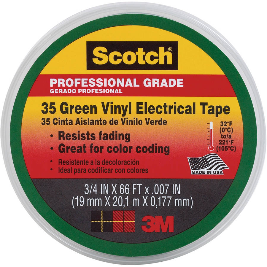 "3M 35 3/4"" Green Scotch Vinyl Electrical Tape No. 35"