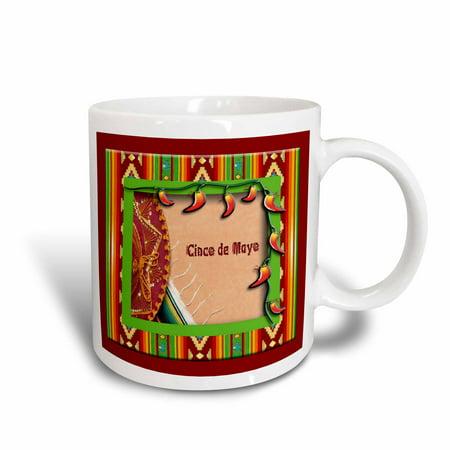 - 3dRose Cinco De Mayo Sombrero on a Blanket with Peppers , Ceramic Mug, 11-ounce