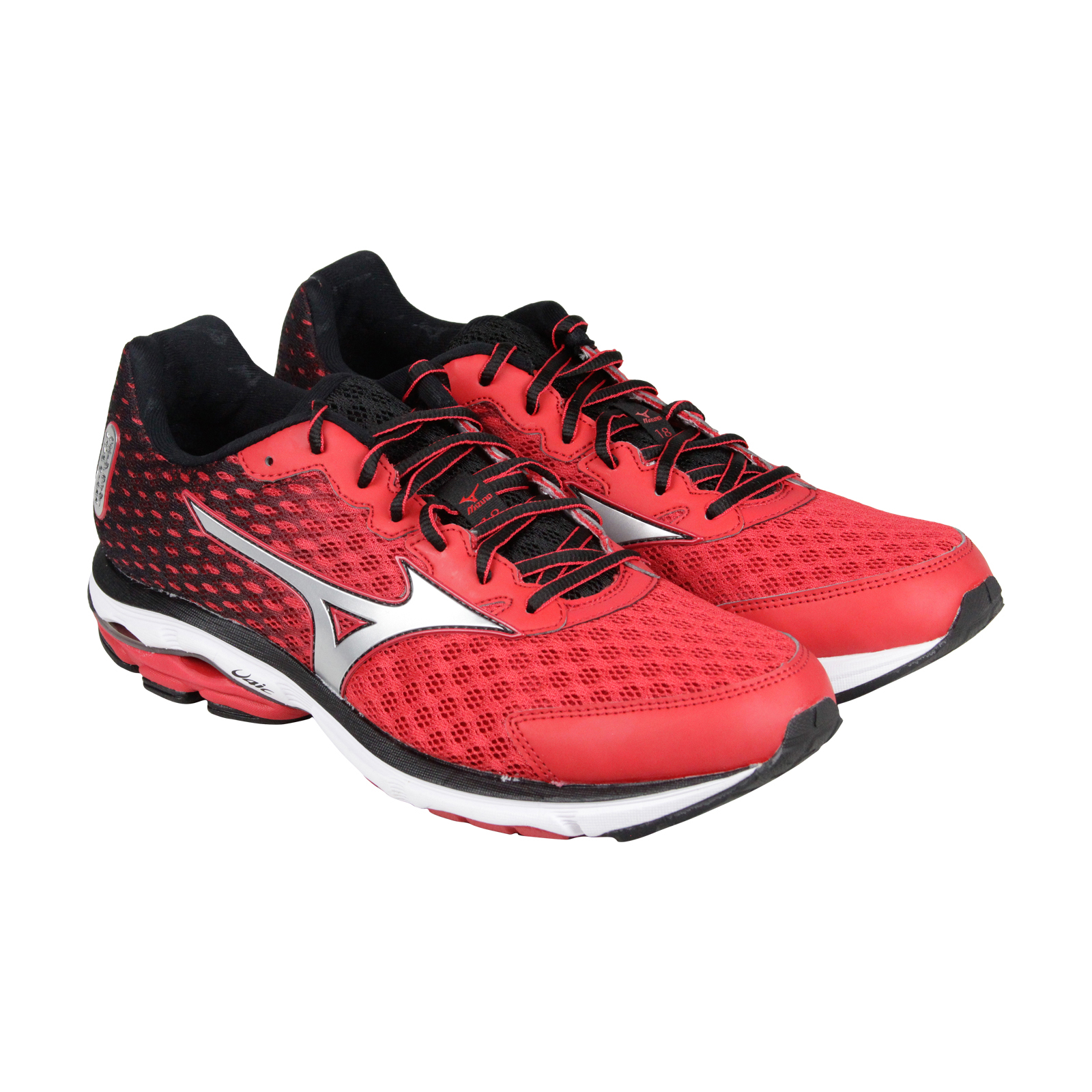 Mizuno Rider 18 Mens Red Mesh Athletic Lace Up Running Shoes