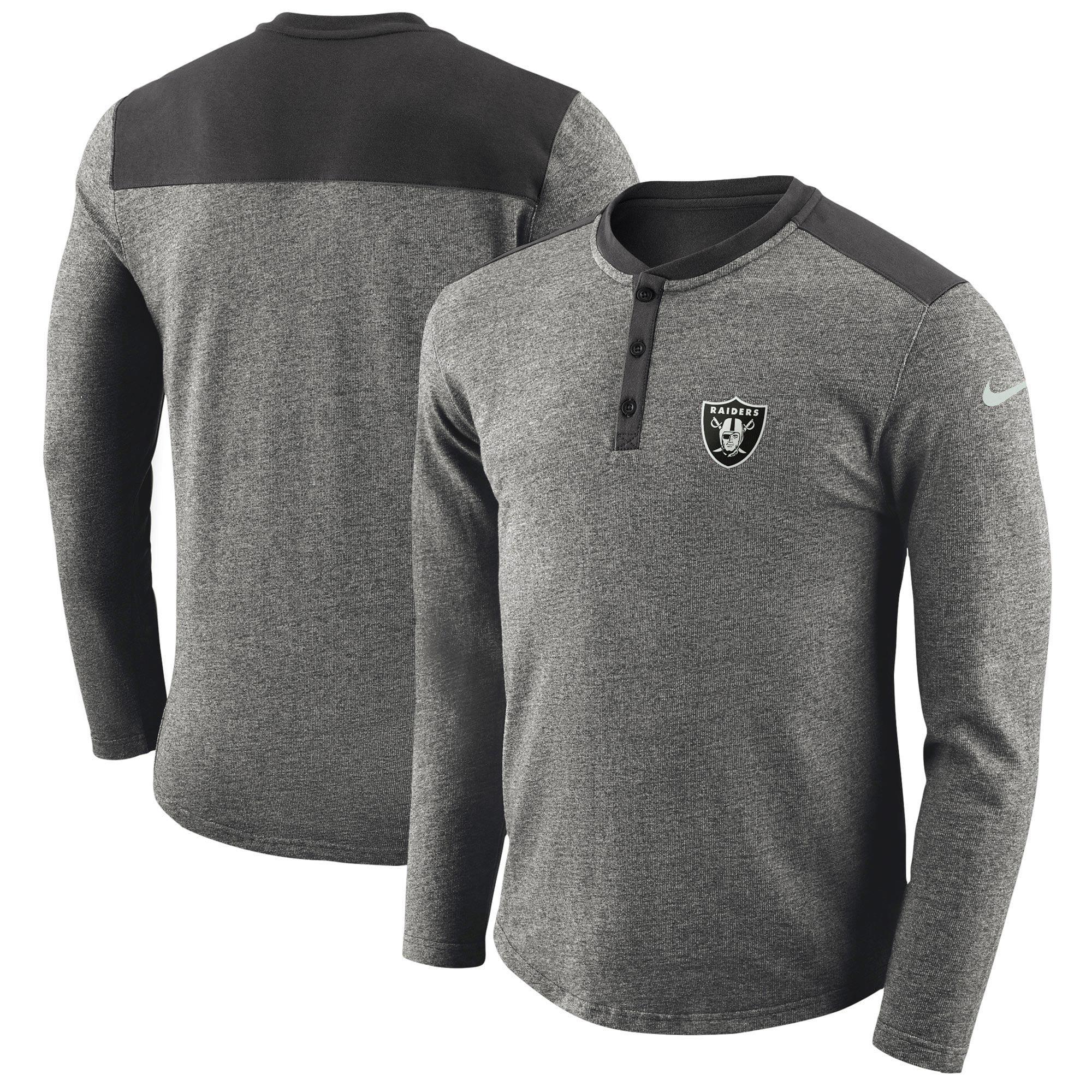 Oakland Raiders Nike Seasonal Henley Long Sleeve T-Shirt - Charcoal