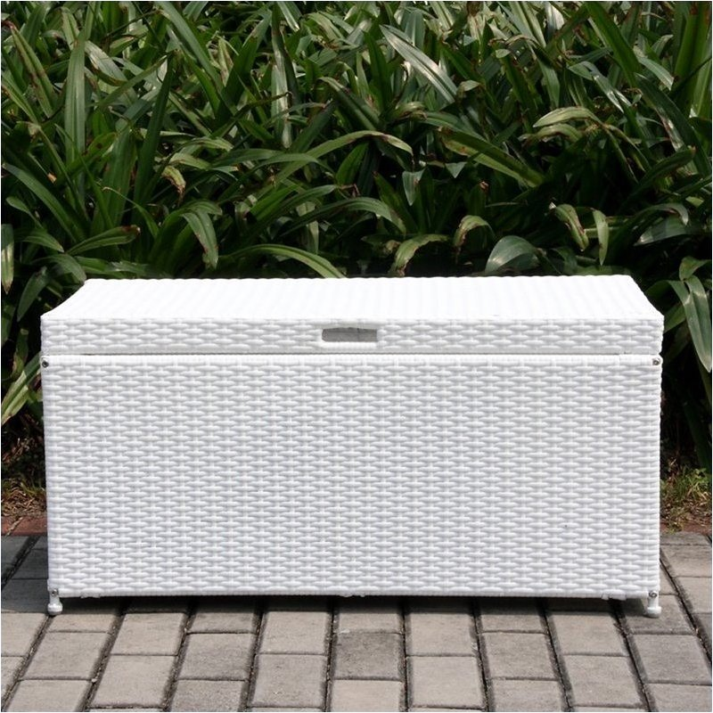 Bowery Hill Wicker Patio Storage Deck Box in White by Bowery Hill