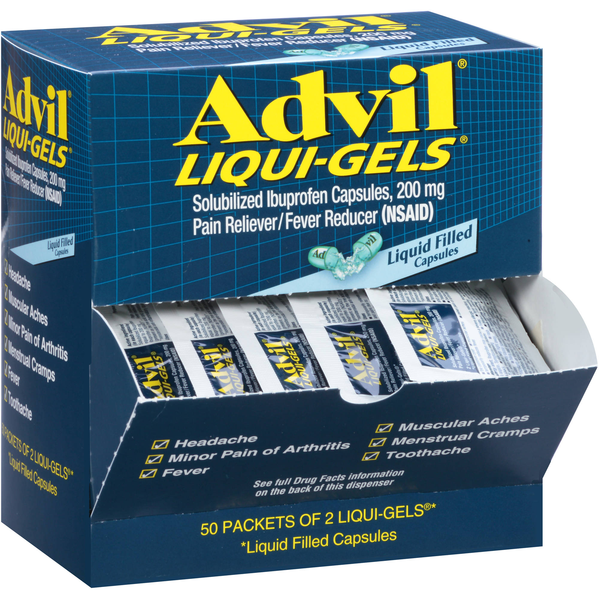 Advil Liqui-Gels Pain Reliever / Fever Reducer (Ibuprofen), 200 mg 2 count, Pack of 50