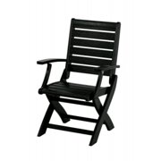 """37.25"""" Recycled Earth-Friendly Outdoor Folding Arm Chair - Black"""
