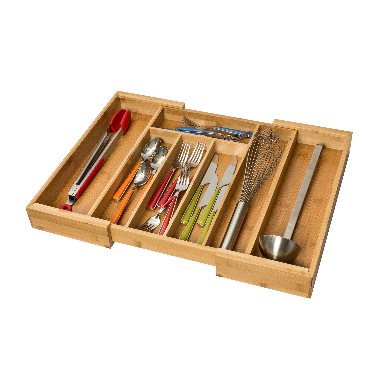 Expandable Bamboo Kitchen Drawer Organizer Walmart Com Walmart Com