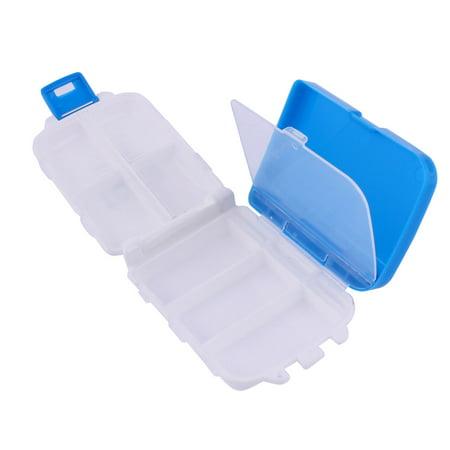 Travel Plastic 8 Compartments Medicine Pill Box Case Container White Blue - image 1 de 3