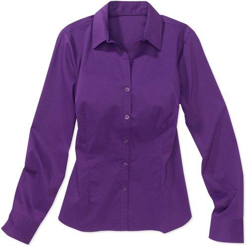 George - Women's Long-Sleeve Button-Down Shirt - Walmart.com