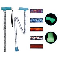 Drive Medical Folding Canes with Silicone Glow Grip Handle and Tip - Floral, 1 ea