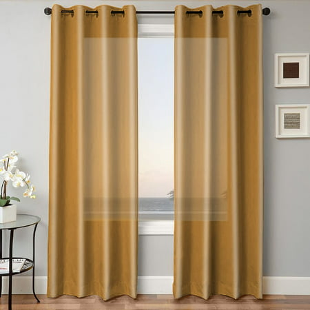 1 PANEL MIRA  SOLID GOLD  SEMI SHEER WINDOW FAUX SILK ANTIQUE BRONZE GROMMETS CURTAIN DRAPES 55 WIDE X 108